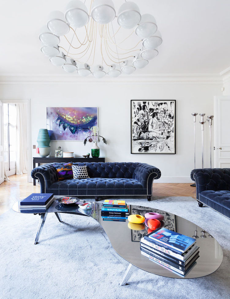 Chesterfield Sofa in Paris Living room with Mirrored Coffee Table by Sandra Benhamou