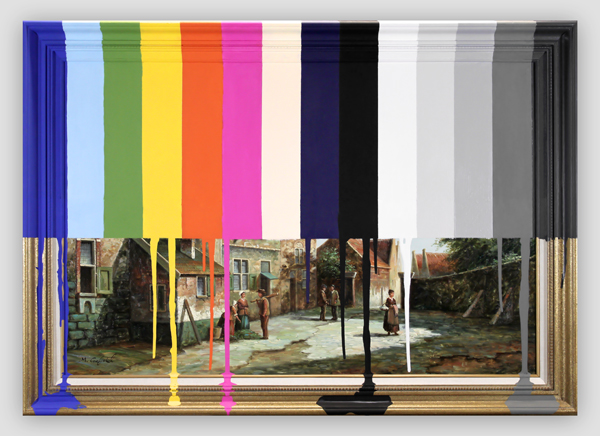 Garage Sale Painting Of Peasants With Color Bars - Chad Wys