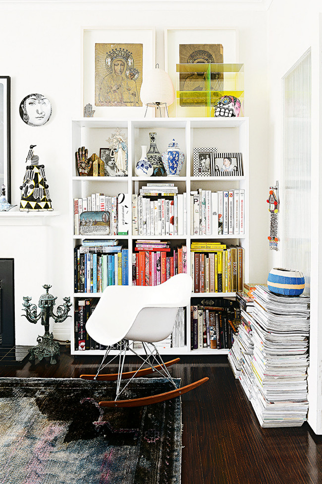 White Scandi Chair and Shelving in Miranda Skoczek's Home