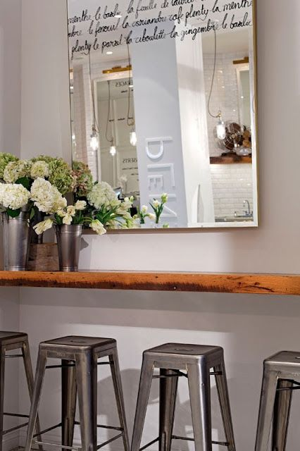 Decor Ideas: Text Written on Mirrors, Handwriting on Mirrors, Calligraphy on Mirrors / Cafe Plenty, Toronto