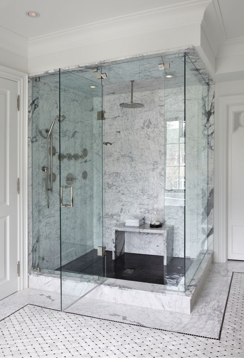 Walk-in Marble Shower via The Design Co