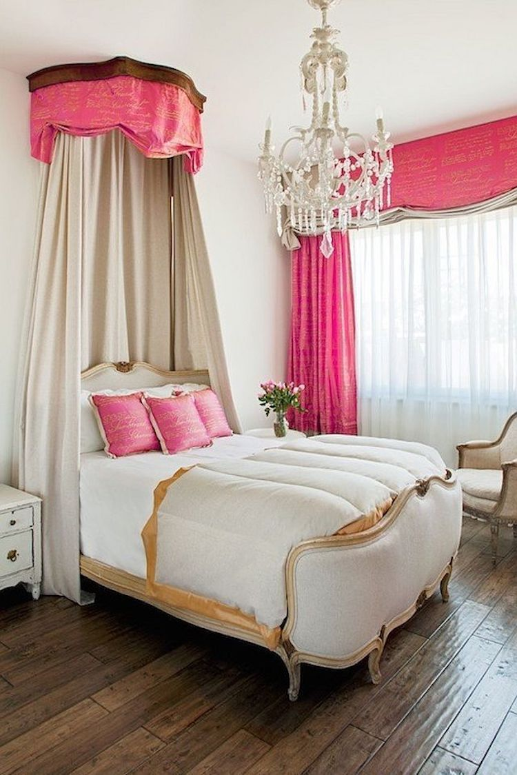 French Bed with Pink Crown via Palm Design Group