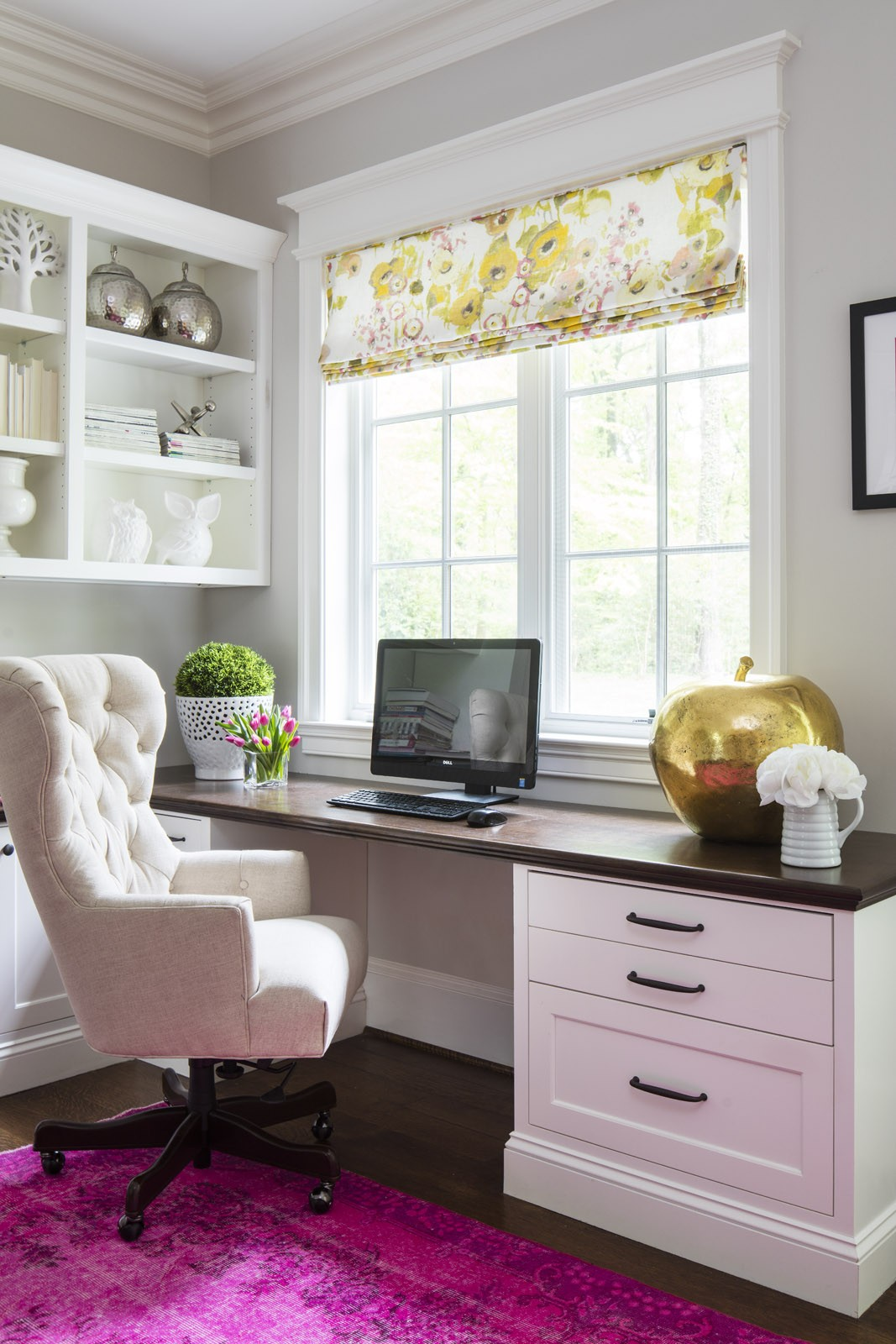 Bright pink overdyed rug in cream office via Martha O'Hara Interiors