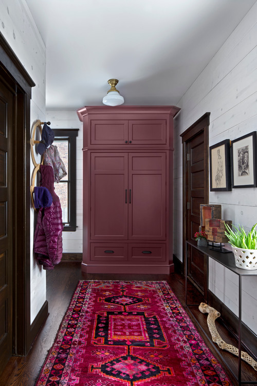 Burgundy overdyed rug via Extraordinary Works - Luxury by EW Kitchens