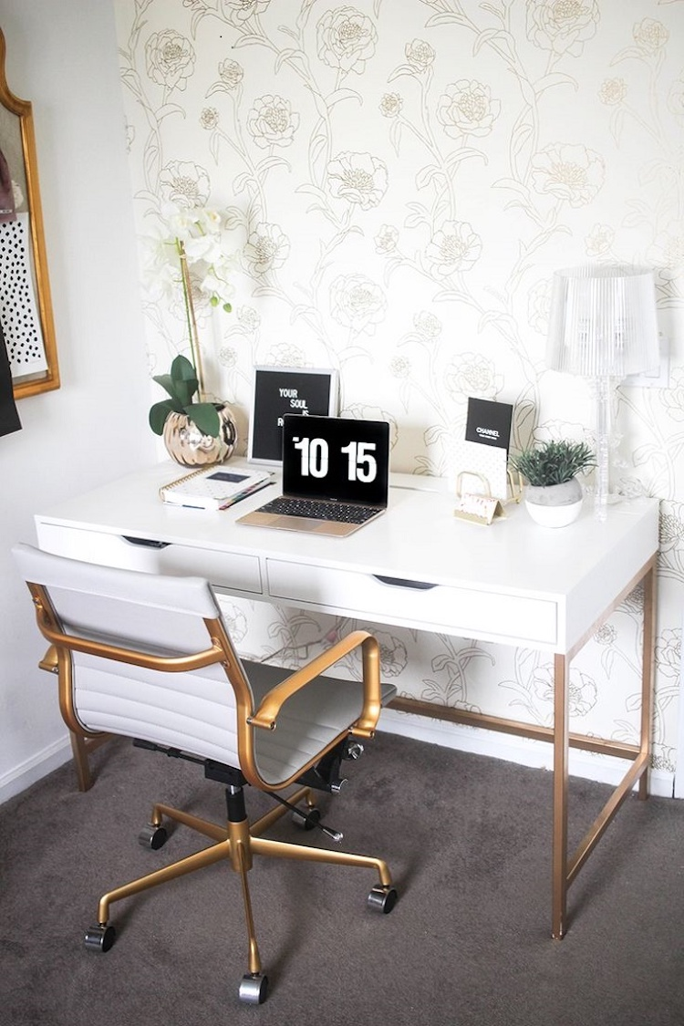 White & Brass Office Chair at Desk