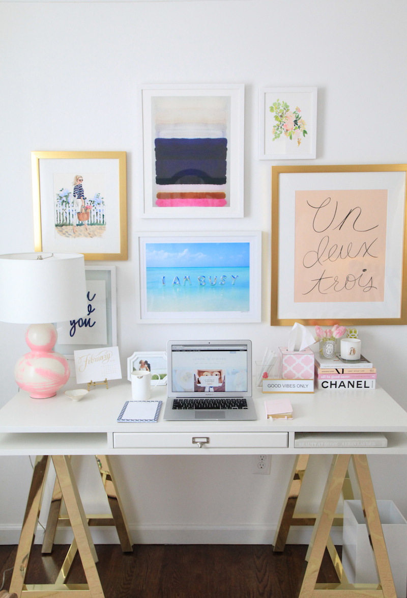 White desk with gold A-frame legs