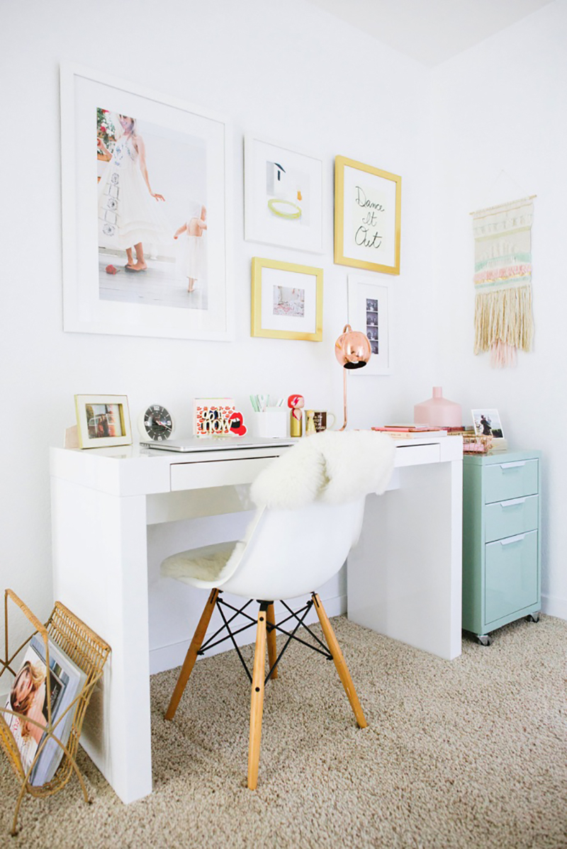 White minimal desk with Eames chair