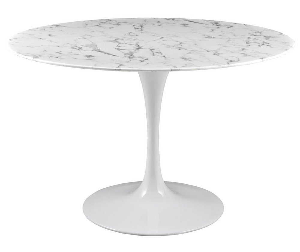47-inch Artificial Marble Dining Table in White