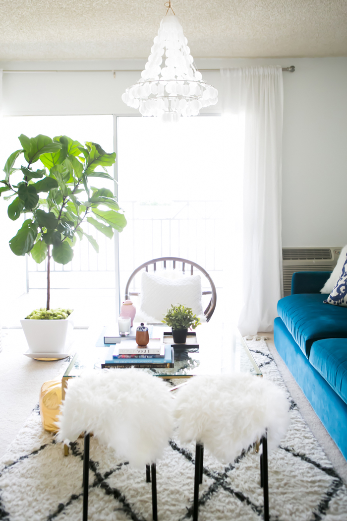 Living Room with Blue Velvet Couch