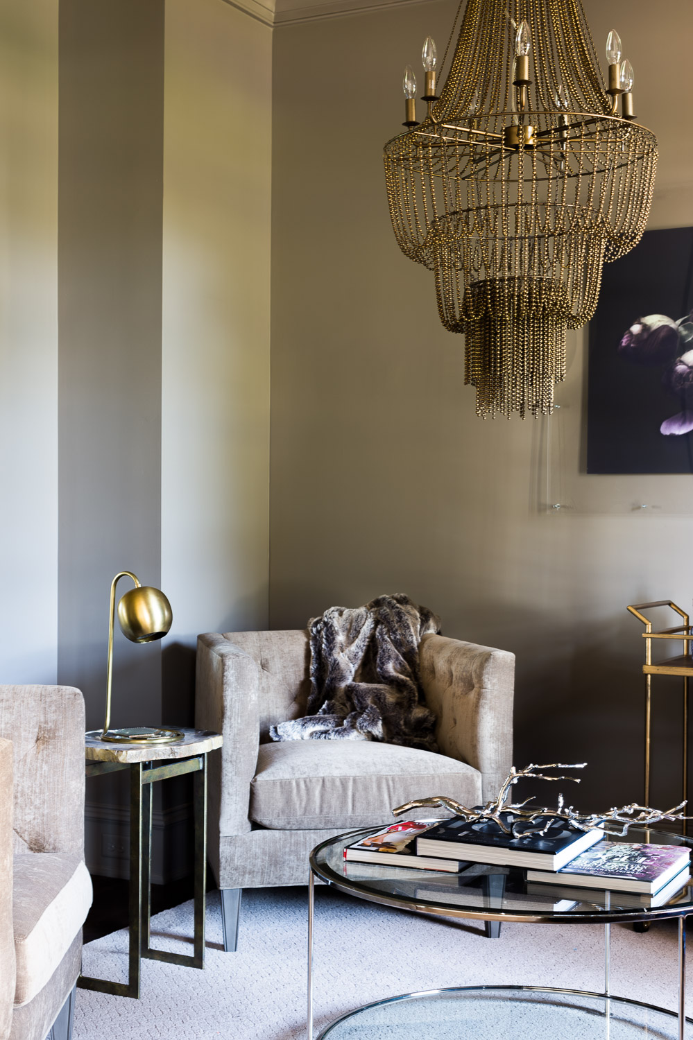Dark and Moody Living Room design by Laura Burleson