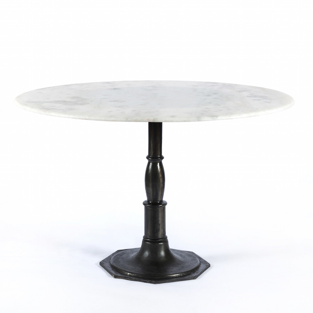 Marble Dining Table with Black Iron Base