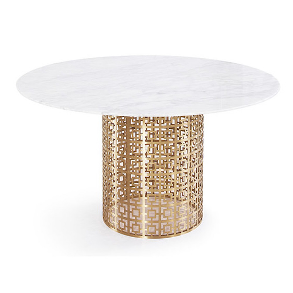 Marble Dining Table With Gold Circular Base