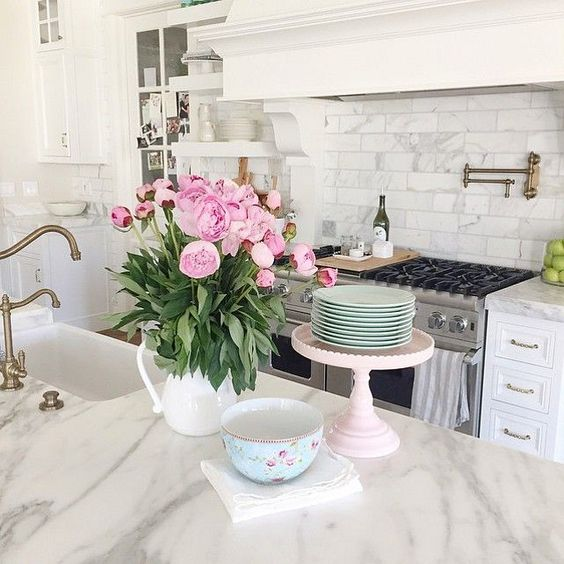 Marble Kitchen via Pink Peonies