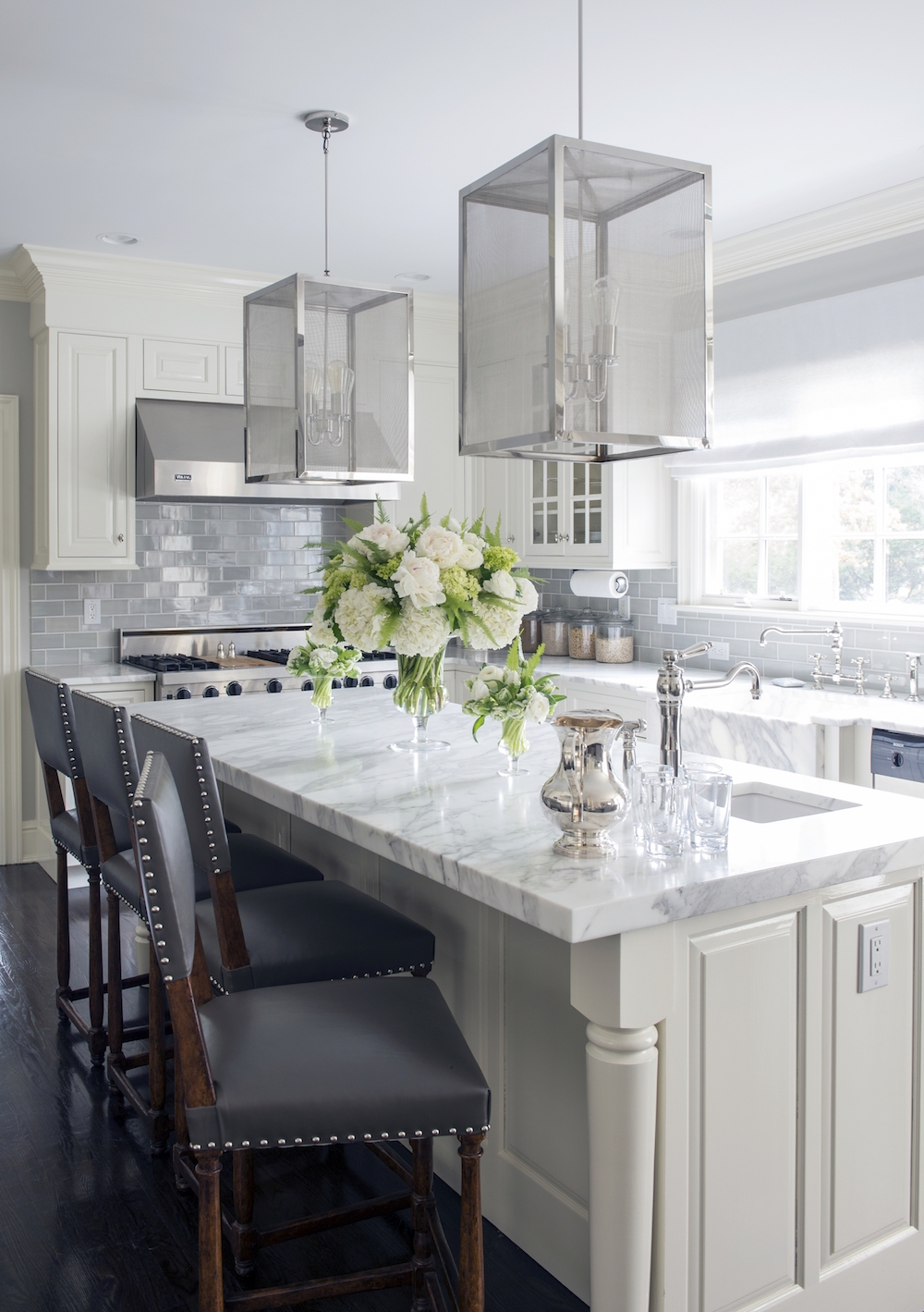 White Marble Kitchen with Grey Tiled Backsplash
