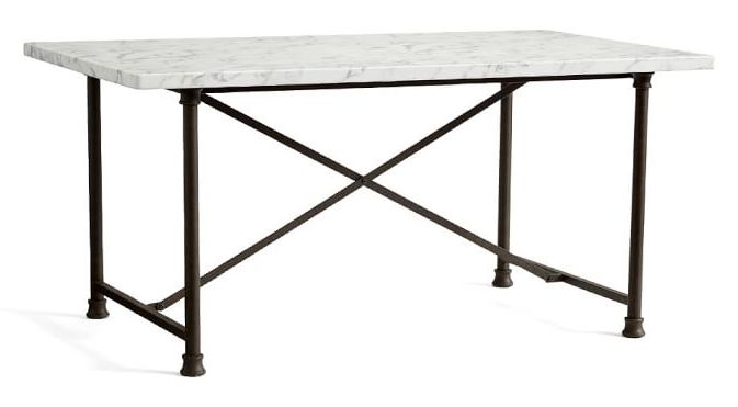 Rectangular White Marble Dining Table with French Iron Base
