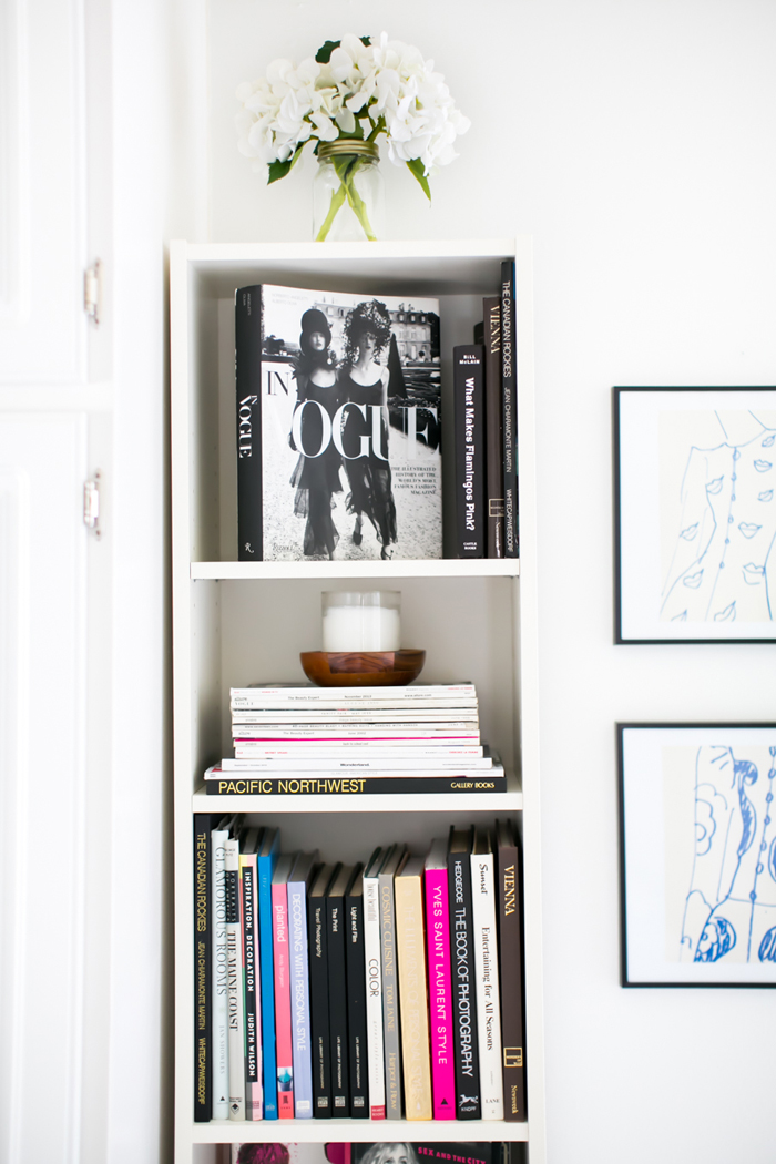 Vogue book on white shelving