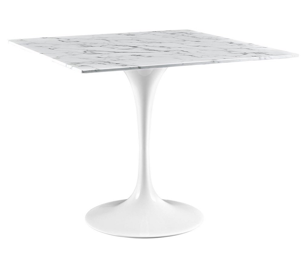 Square White Marble Dining Table