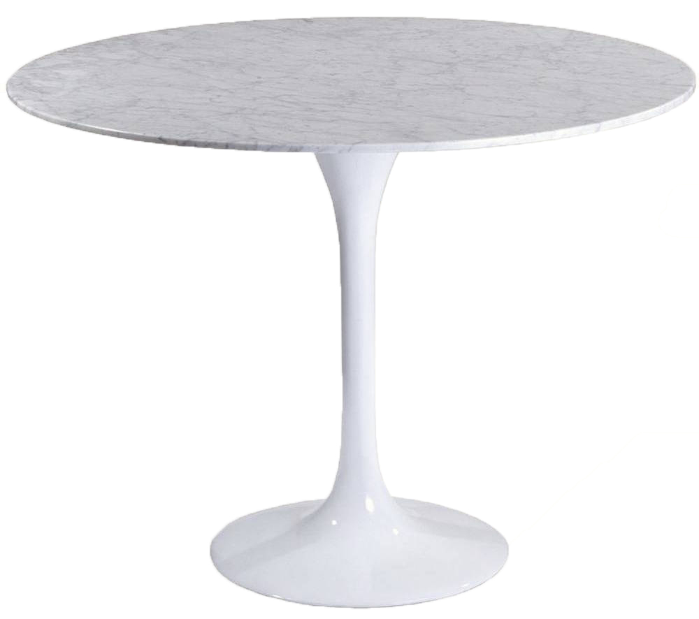 Tulip 40-inch Marble Dining Table in White