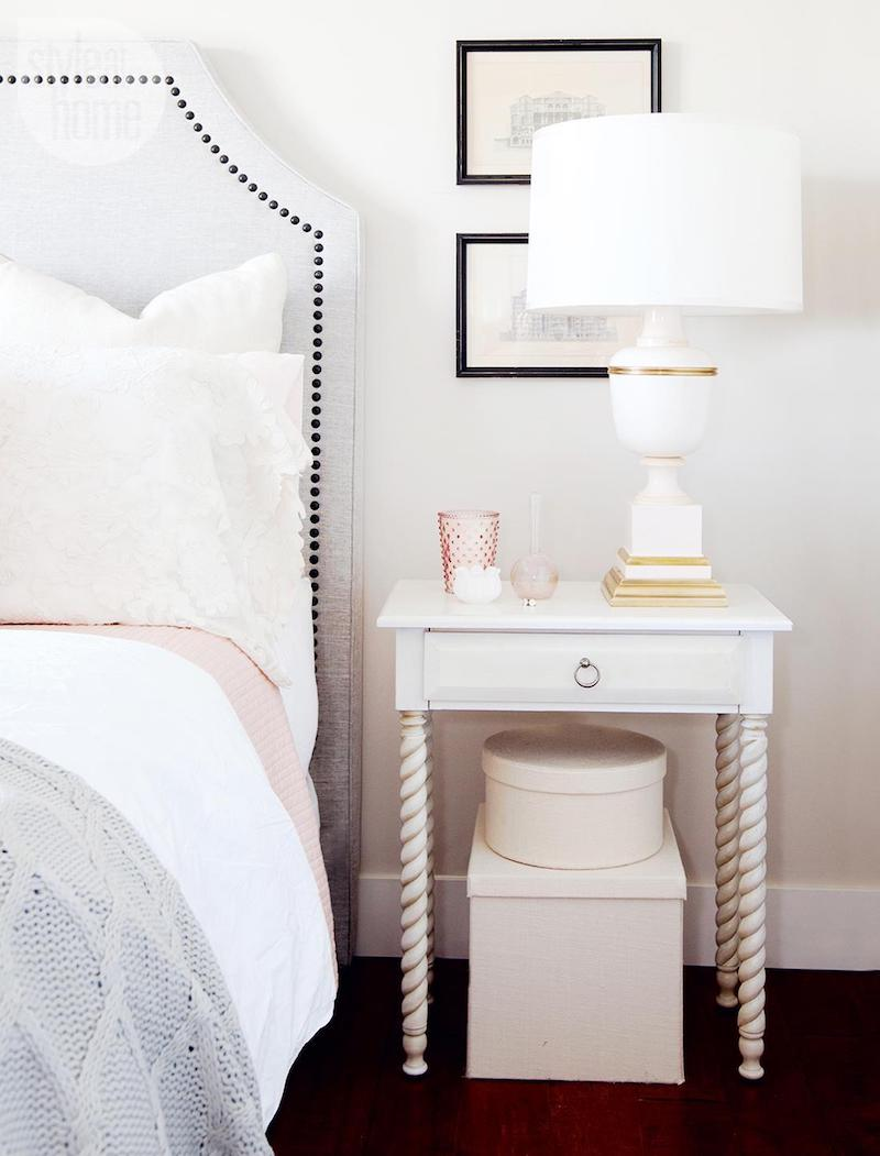 White table lamp with gold ring via Style at Home