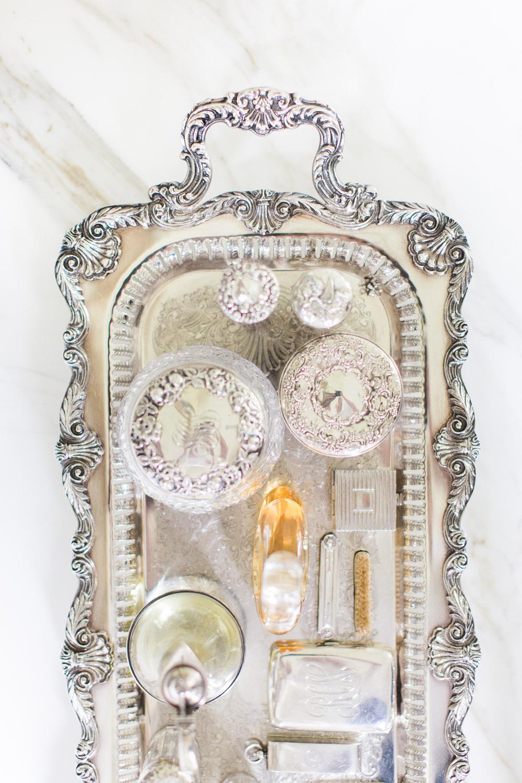 silver vintage tray