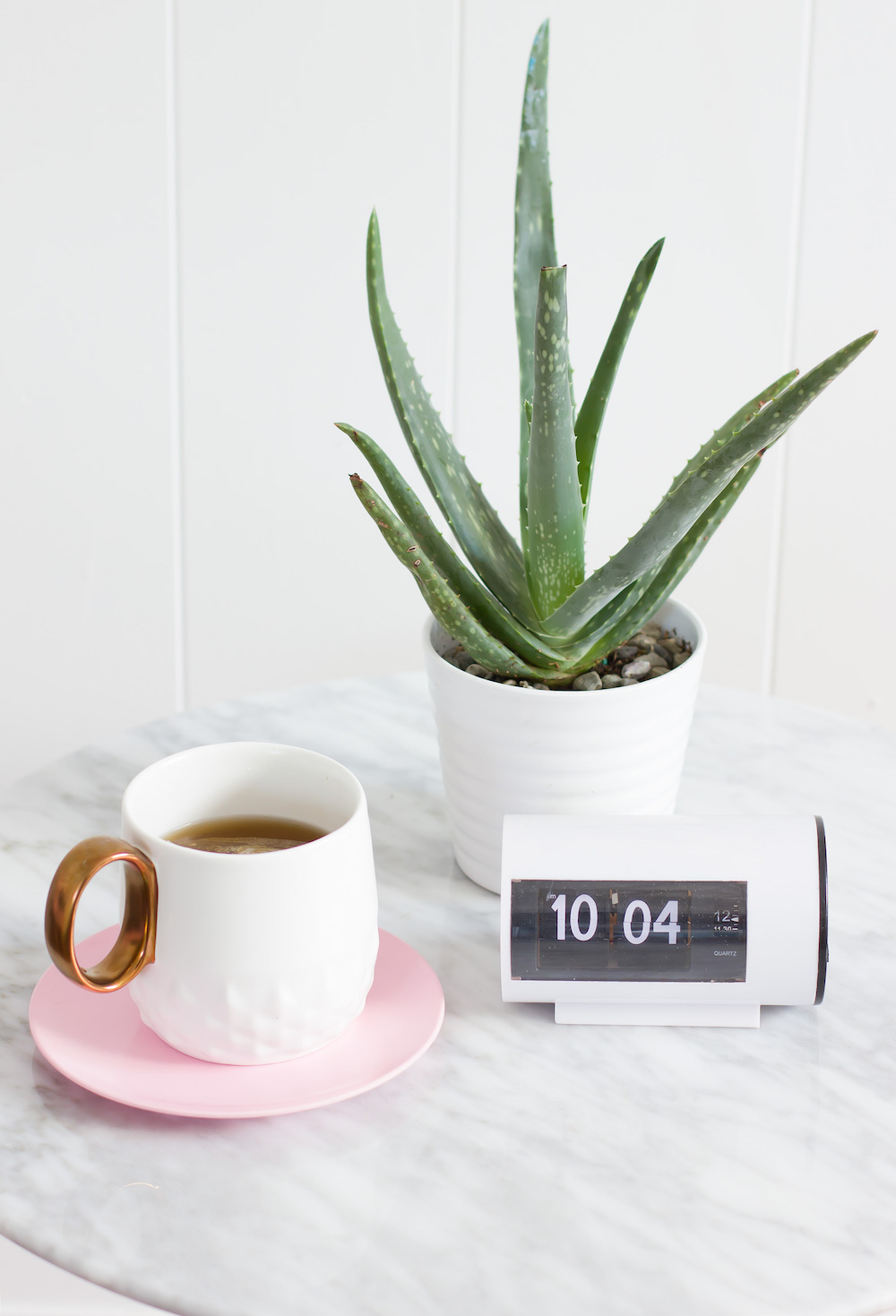 plant and pink coffee cup