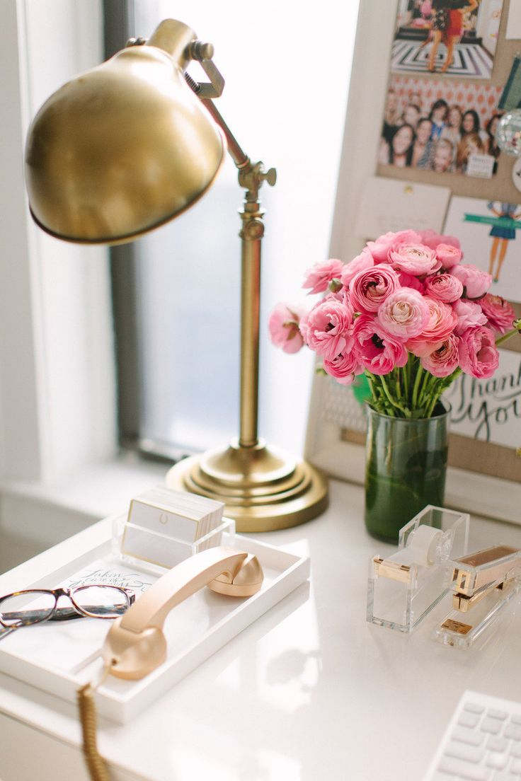 brass lamp with pink flowers