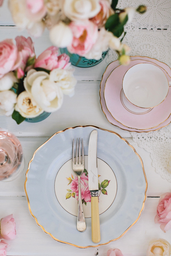 pastel teacup place setting