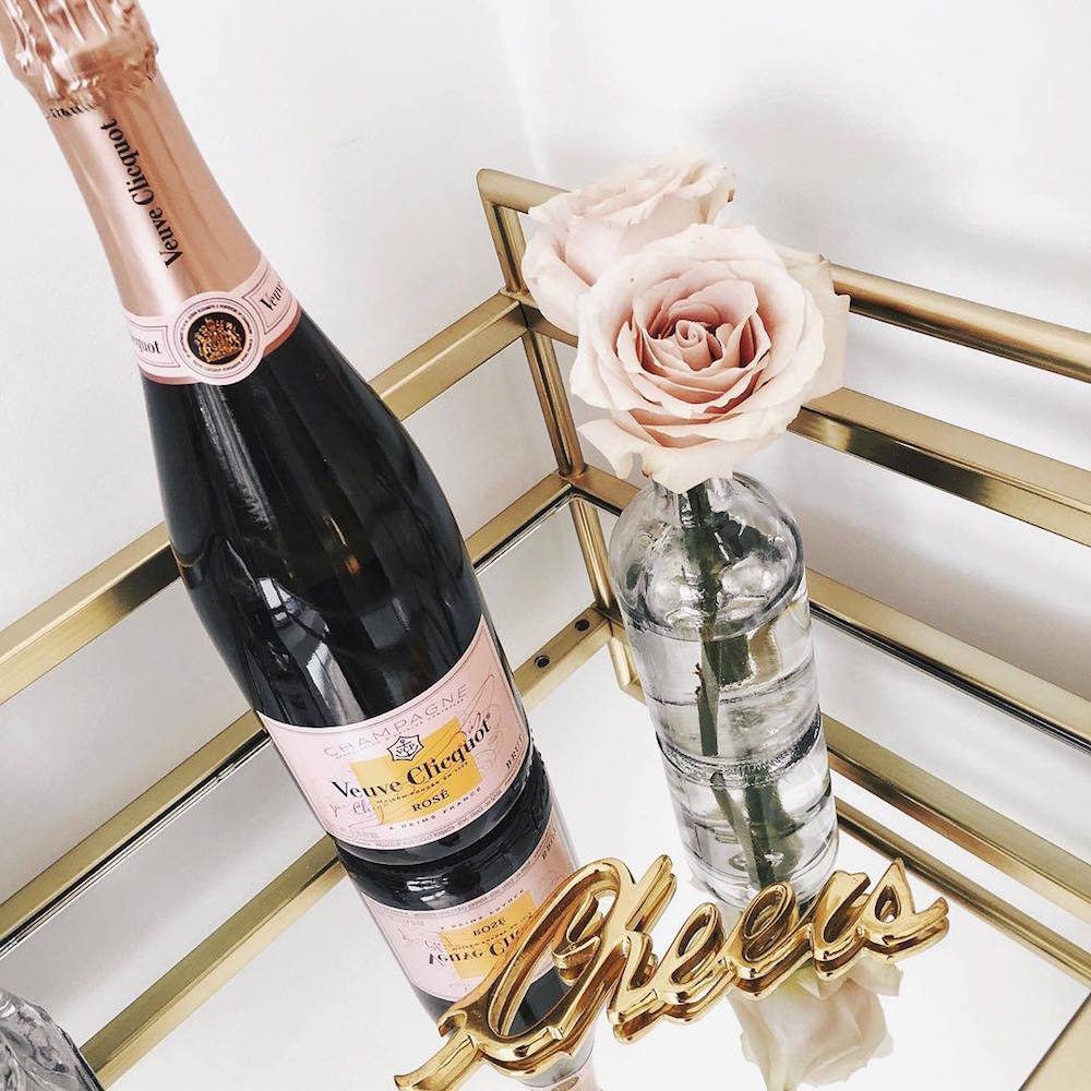 pink champagne, roses and cheers gold decal