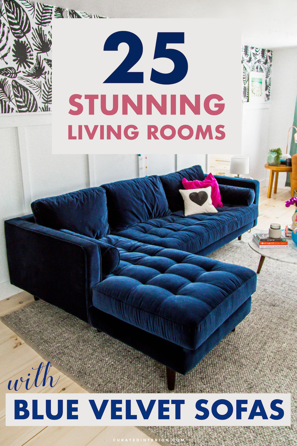 25 Beautiful Living Rooms Blue Velvet Sofas ...