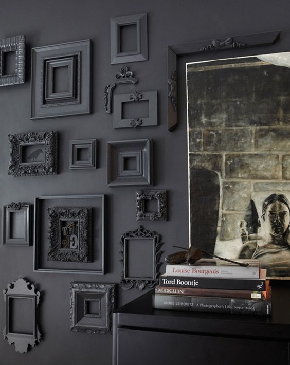 Black Wall Interior add depth with empty black frames
