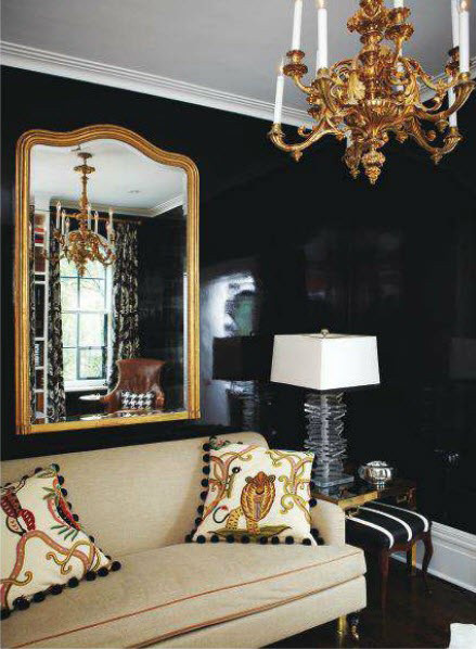 Black Wall Interior add gold accents