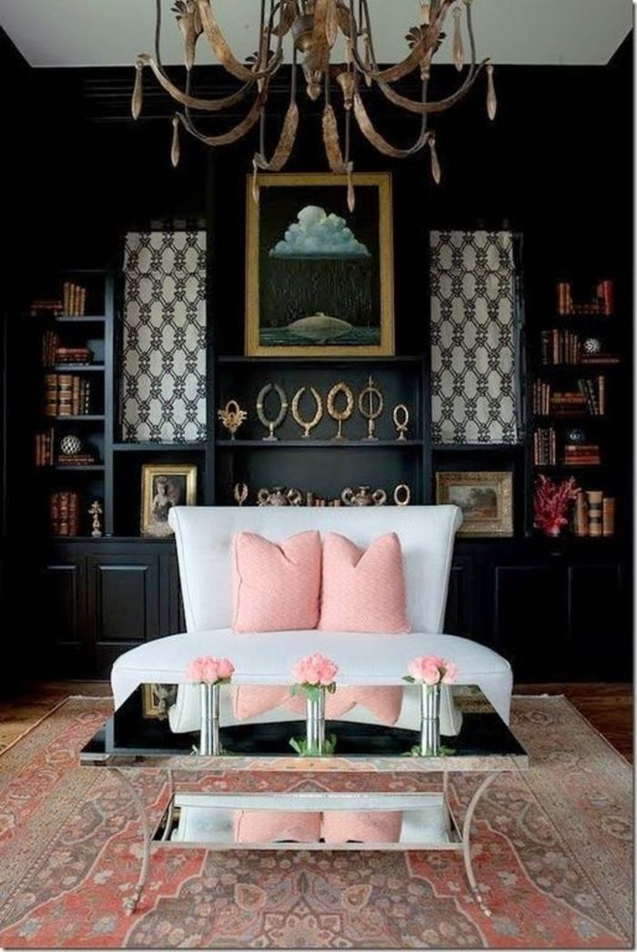Black Wall Interior blush pink rug