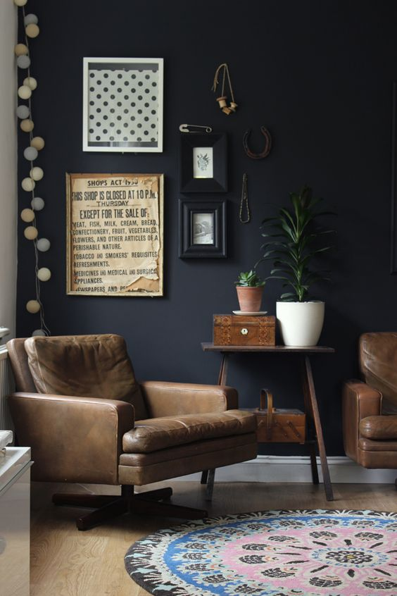 Black Wall Interior brown leather chair