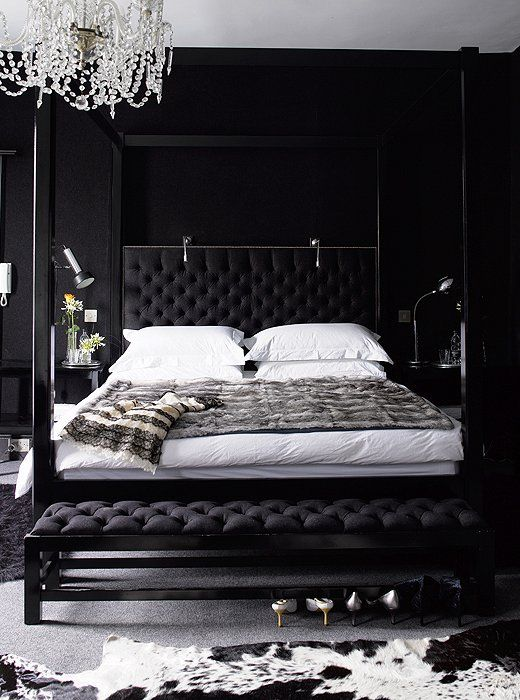 Coordinate Black Walls With A Chic Headboard