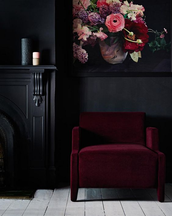 Black Wall Interior dark maroon furniture and art