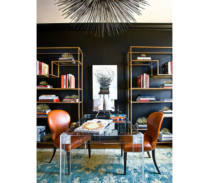 Black Wall Interior gold shelving