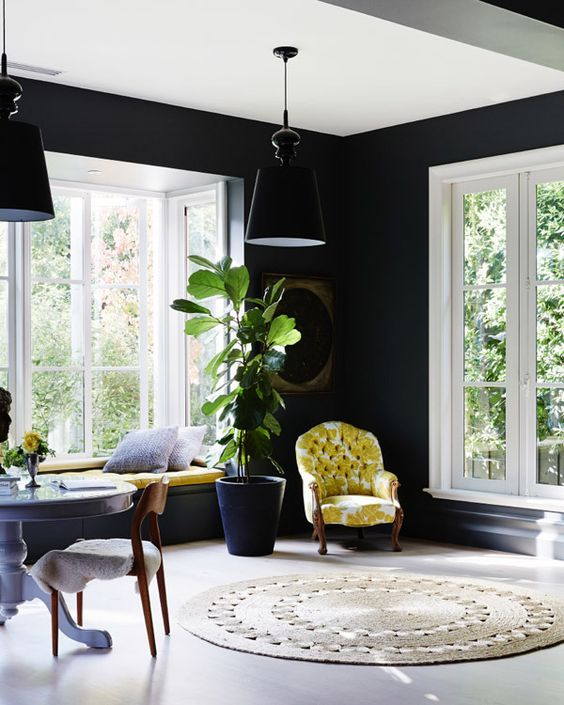 Black Wall Interior large windows lots of light