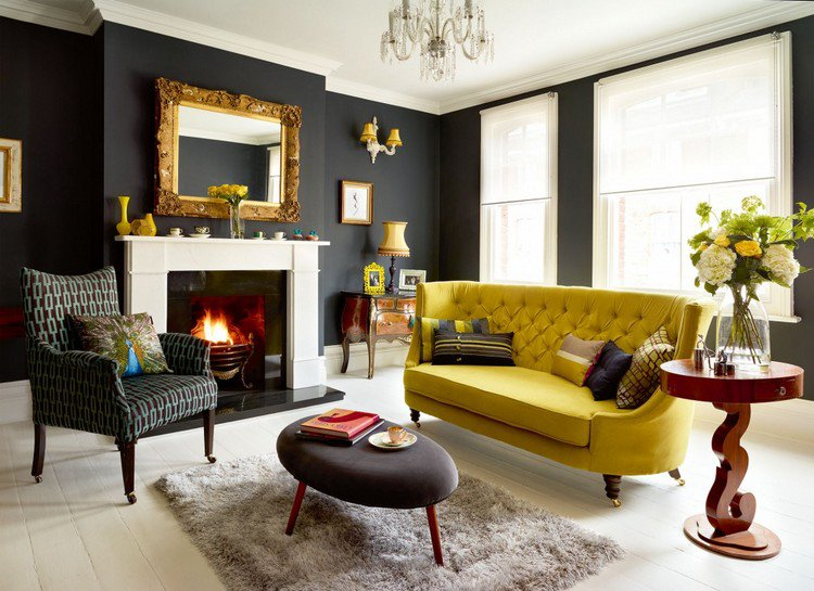 Black Wall Interior mustard yellow sofa