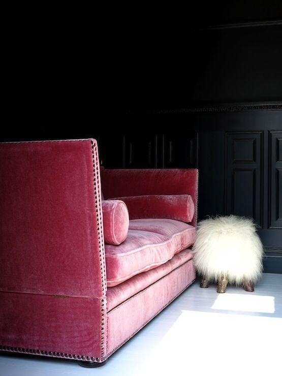 Black Wall Interior pink velvet sofa