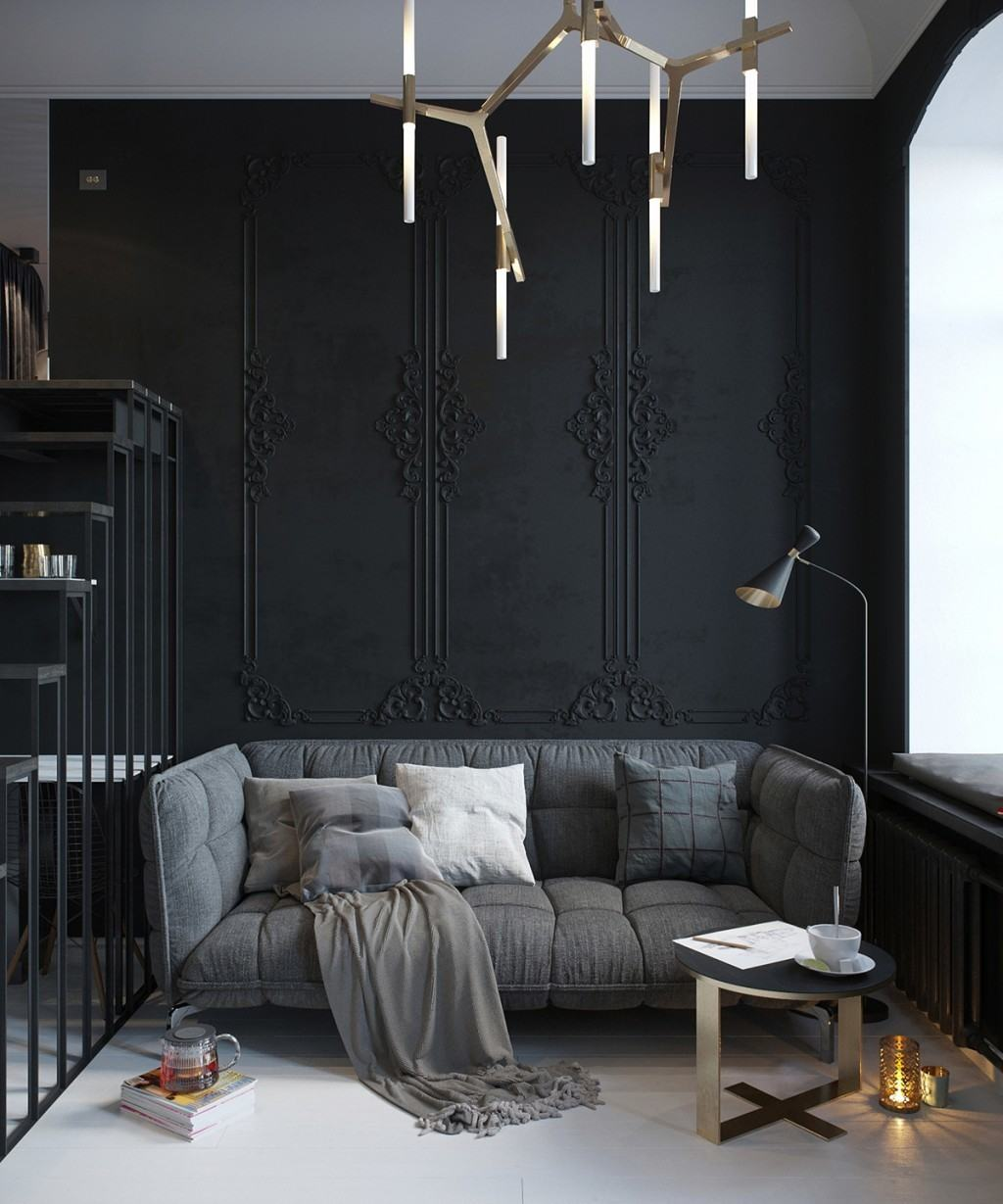 Black Wall Interior with moulding designs for texture