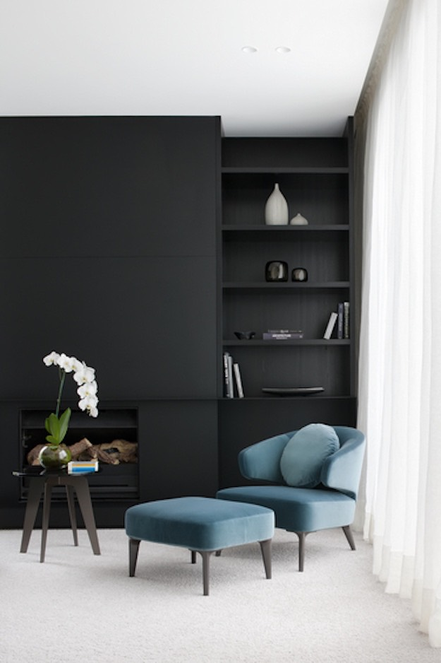 Black Wall Interior solid turquoise furniture