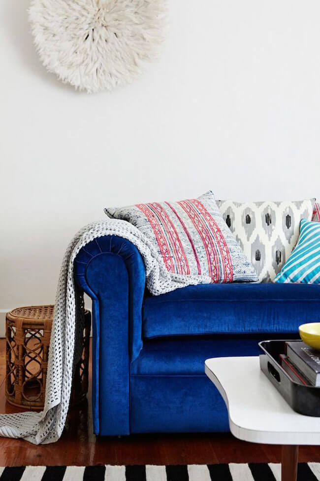 Blue Velvet Sofa - Alana Langan's Home on The Glitter Guide