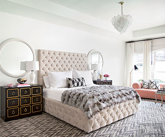 Bedroom with Cream Tufted Headboard