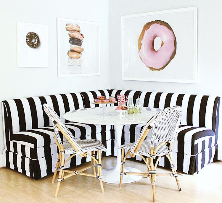 Bistro Chairs with Black and White Sectional Melissa Koch Interiors