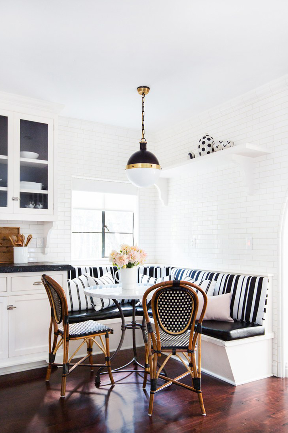 Black Bistro Kitchen Nook via Consort Design