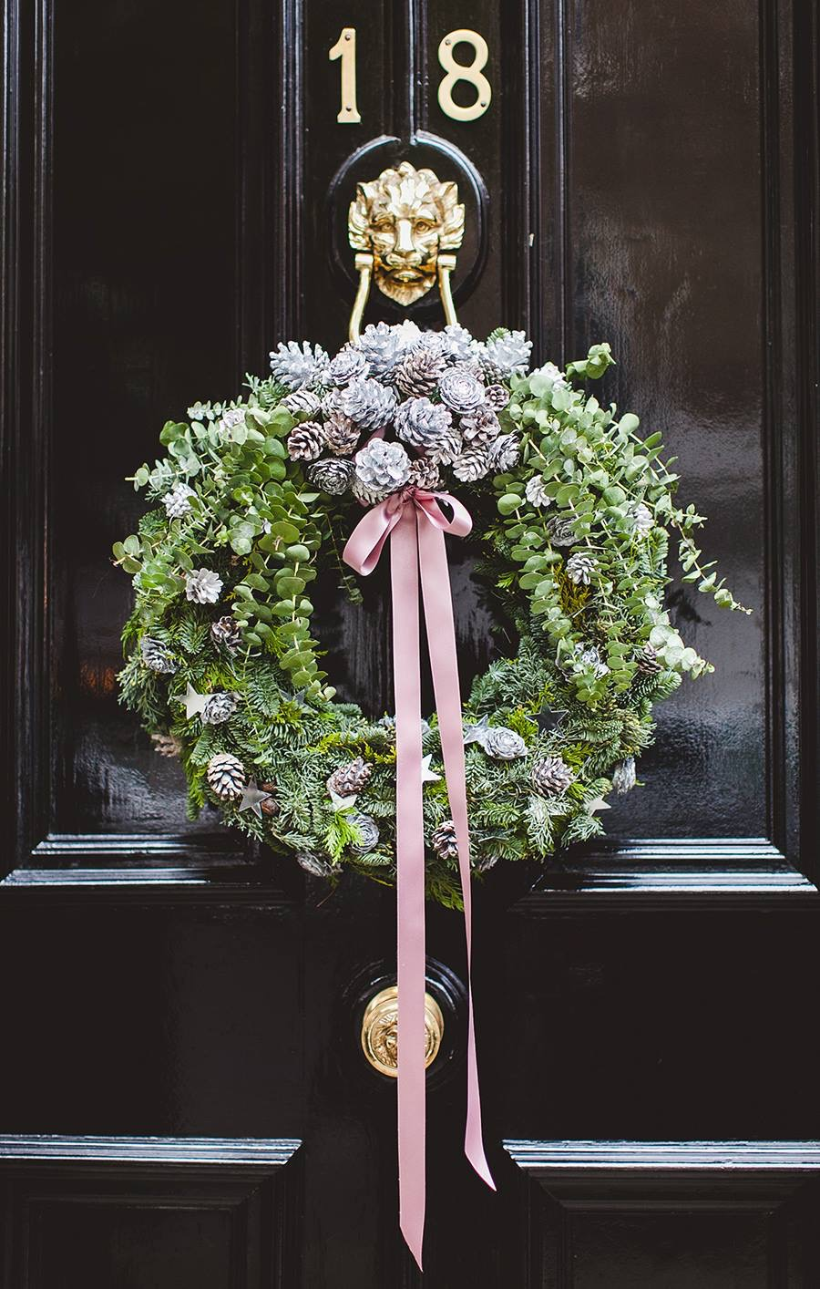 Black door Christmas Wreath