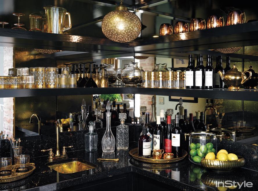 Black wall cocktail bar