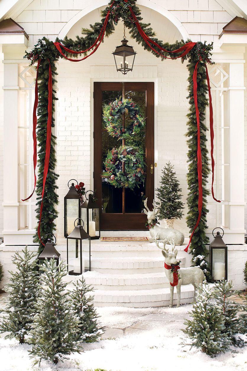 Christmas Front Door with Silver Reindeer