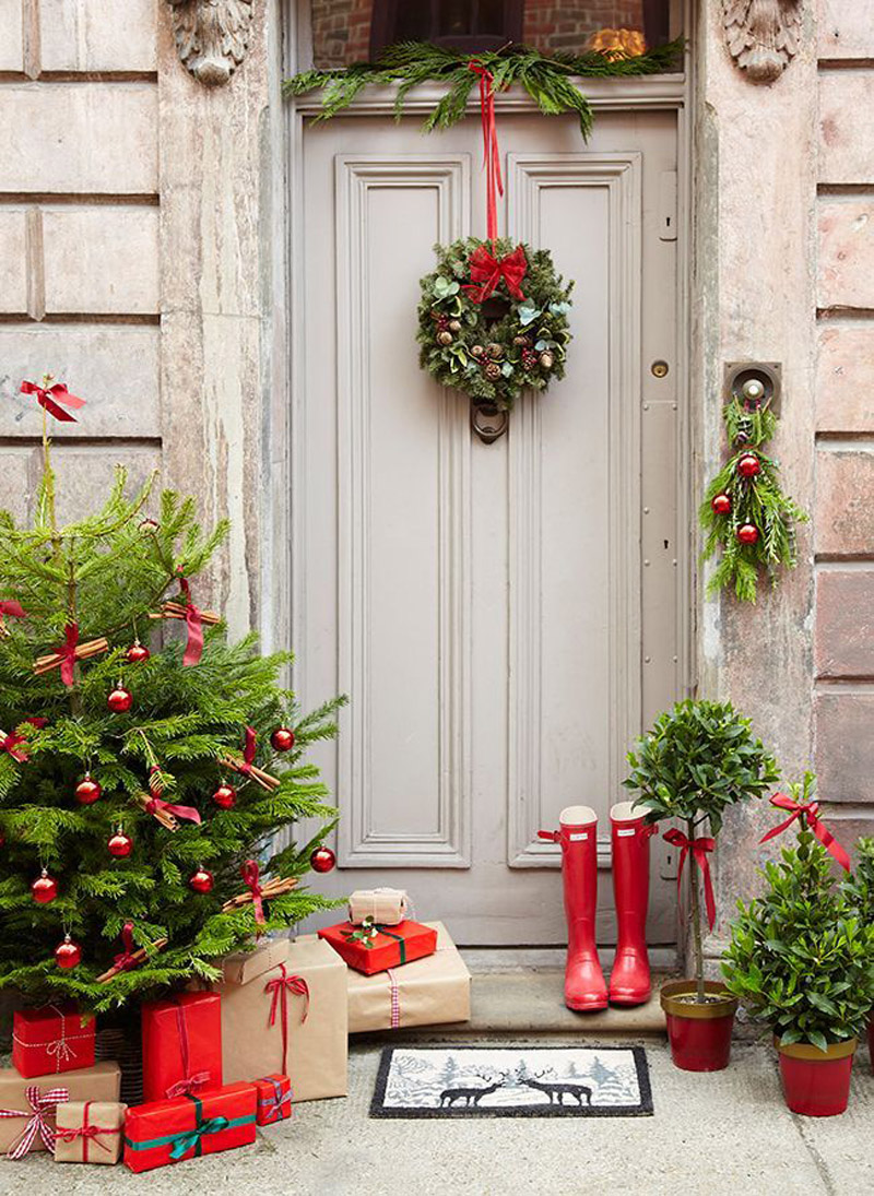 Christmas Front Door with Tree and Presents