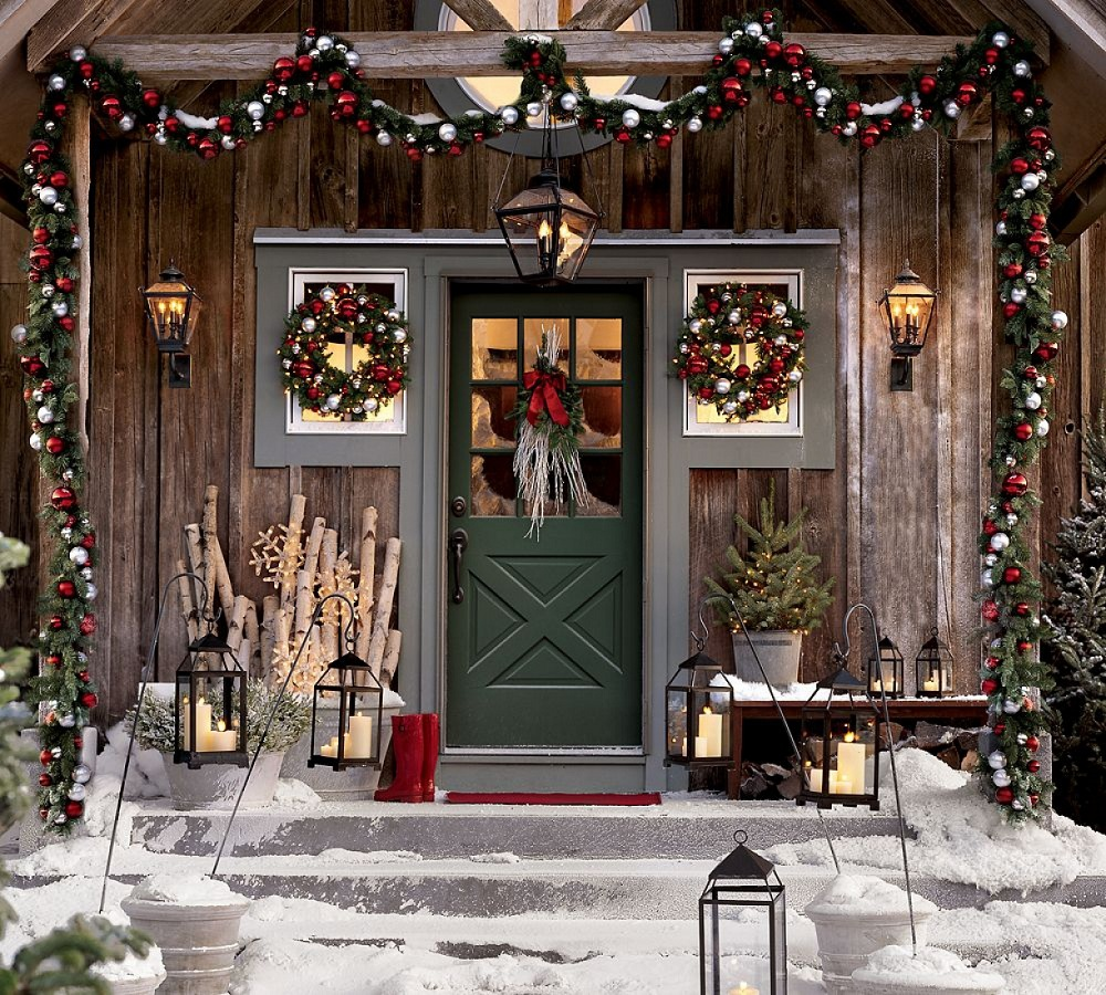 Christmas Front Porch with Green Front Door